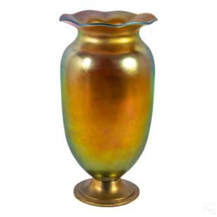 Steuben Style Gold Aurene Iridescent Glass Vase