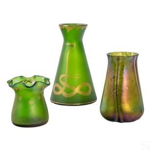 Loetz Style Studio Art Glass Iridescent Vases LOT