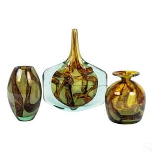 Mdina Earthtones Modern Studio Art Glass Vases LOT