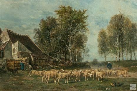 A. E. Servin 1829-1884 Barbizon Landscape Painting