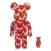 Keith Haring Bearbrick 400% & 100% V6 Hearts Toys