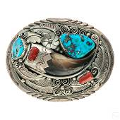 JW Toadlena Native Silver Coral & Turquoise Buckle