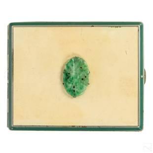 Art Deco White Green Enamel & Jade Cigarette Case