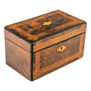 English 19thC Antique Inlaid Walnut Wood Tea Caddy