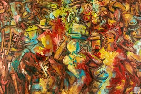 Emmanuel Jolicoeur b1928 Haitian Folk Art Painting