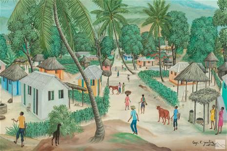 Guy Joachim (b.1955) Haitian Folk Art Oil Painting