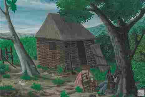 Roland Etienne Haitian Folk Art Landscape Painting