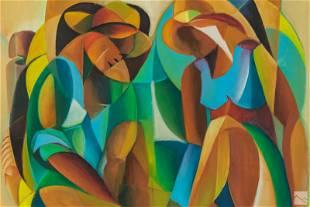 R Denis 20C Haitian Folk Art Portrait Oil Painting