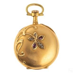 18K Ladies LeCoultre Diamond Ruby Pocket Watch