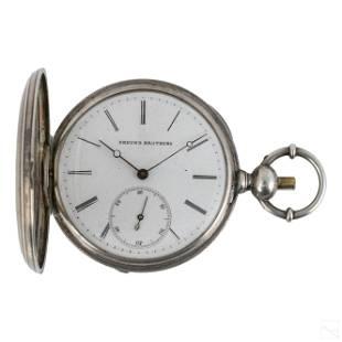 Freund Brothers Silver Cased Key Wind Pocket Watch