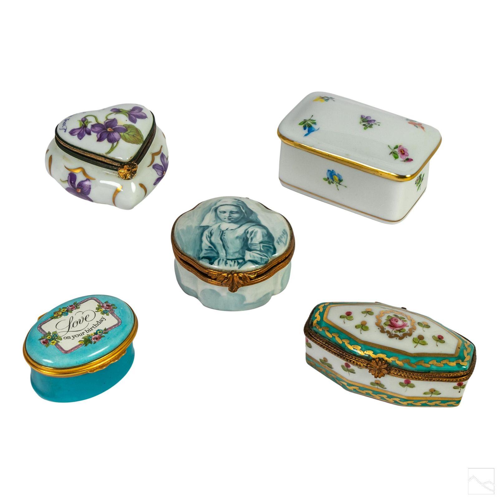 Herend Limoges Cartier Porcelain Trinket Boxes LOT