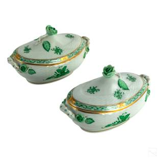 Herend Chinese Bouquet Porcelain Covered Dish PAIR