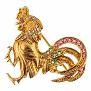 18k Gold Diamond Emerald & Ruby Rooster Brooch Pin