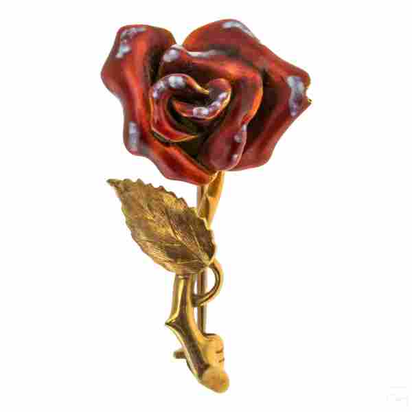 18K Gold Antique Red Enamel Rose Flower Pin 5 gram