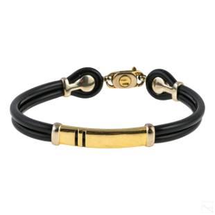 18K Gold Sauro Italian Mens Designer Bracelet 16g