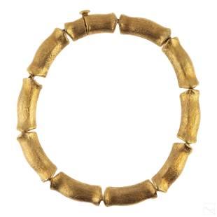 18K Gold Ladies Italian Bamboo Link Bracelet 18g