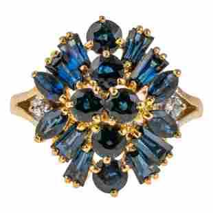 18K Gold Designer Blue Sapphire & Diamond Ring S5