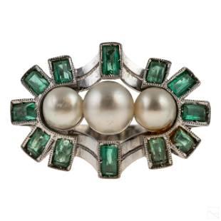 Fine 18K White Gold Retro Emerald & Pearl Ring 6g