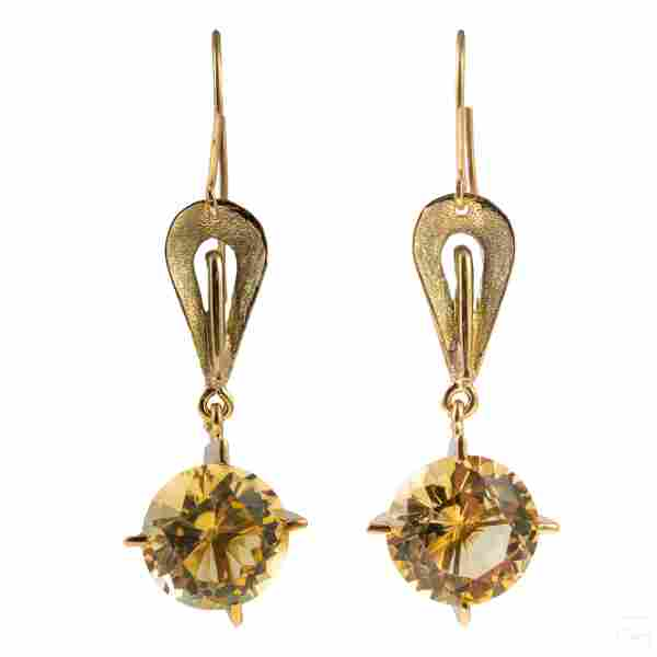14k Gold and Citrine Stones Artisan Drop Earrings