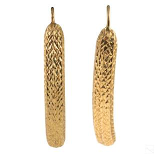 14K Gold Designer Abstract Ladies Earrings 4.3g