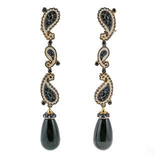 Sapphire & Enamel 925 Silver Onyx Drop Earrings 6g