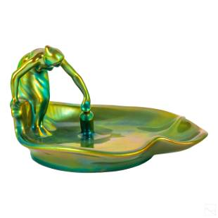 Zsolnay Green Eosin Water Bearer Maiden Figurine