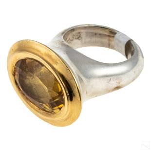 22K Gold Tom Swope Modern Artisan Silver Ring 33g