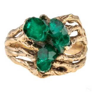 14k Gold Brutalist Chatham Cluster Emerald Ring 9g