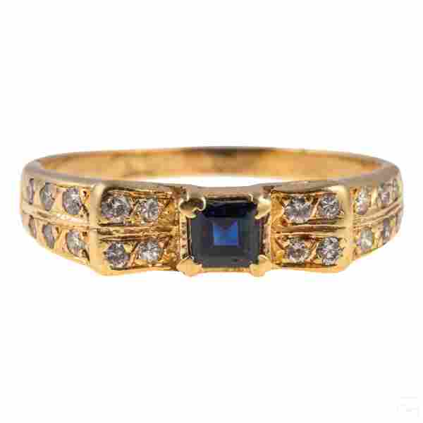 14k Gold Sapphire and Diamond Band Ring 2.2g Sz 7