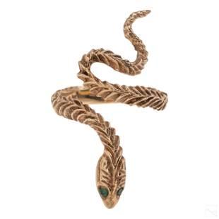 14K Gold Artisan Emerald Coiled Snake Ring 4.8g S6