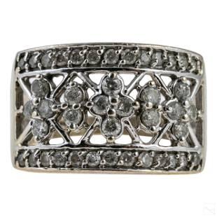 14K White Gold .66 CTTW Diamond Filigree Ring 5.7g