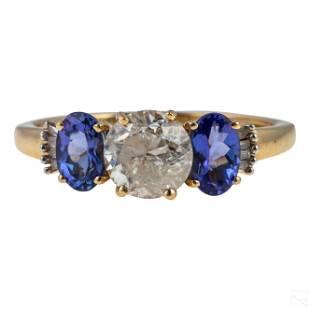 14K White Gold 2.85 CTTW Tanzanite Diamond Ring 2g