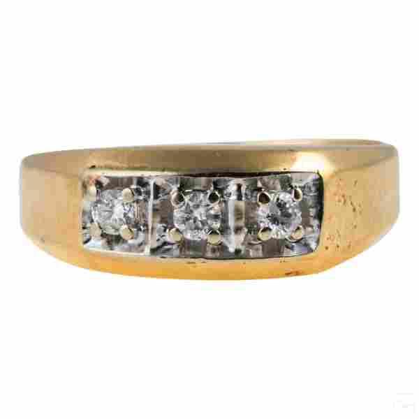 14K Gold Mens Three Stone Diamond Ring 5g Size 12