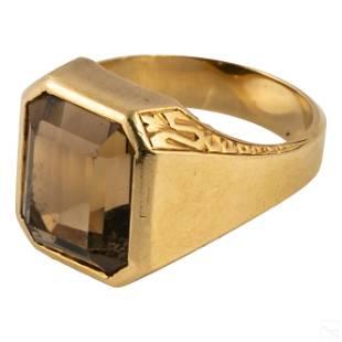 14K Gold Antique Mens 11 CT Topaz Ring 17g Size 24