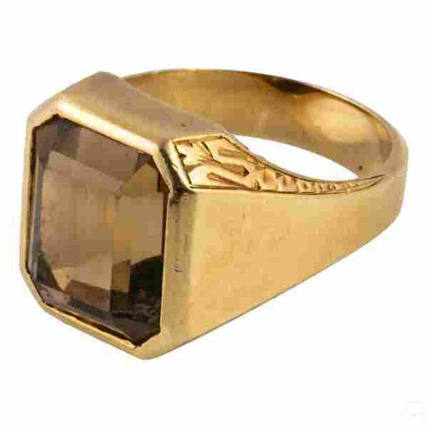 14K Gold Antique Mens 11 CT Topaz Ring 17g Size 11