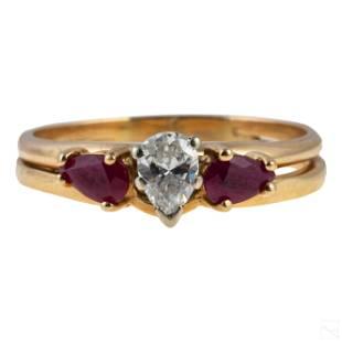 14K Gold .35ct Diamond and Ruby Gemstone Ring 3.6g