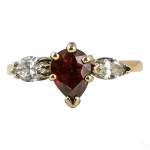 14k Gold Ladies Diamond and Ruby Ring 2.1g Size 7