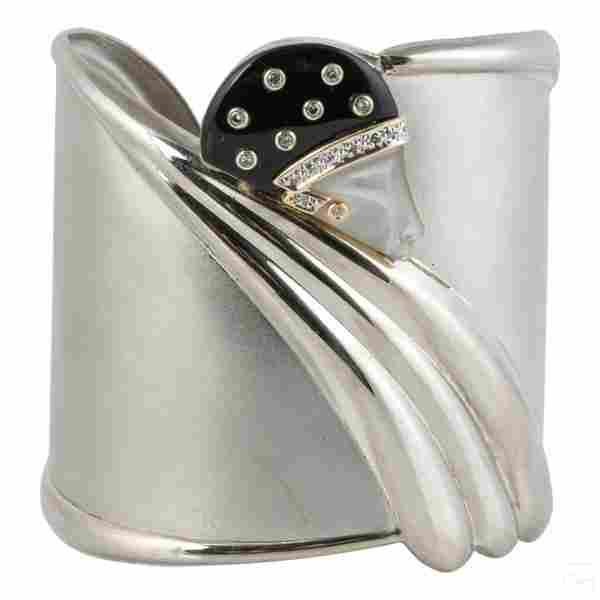 14K Gold and Silver Erte Tempest Diamond Bracelet
