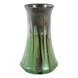 Fulper Art Pottery Glazed Green & Brown Drip Vase