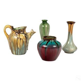 Belgium Art Deco Flambe Pottery Pitcher and Vases