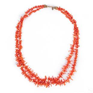 Miriam Haskell Salmon Coral Branch Strand Necklace
