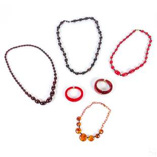 Bakelite Red Bangle Bracelets and Beaded Necklaces