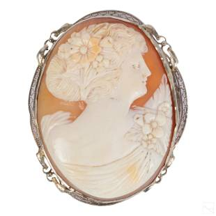 14K Gold Victorian Antique Carved Shell Cameo Pin