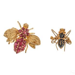 14K Gold Ruby Sapphire Bee Brooch Pendant Pins 9g