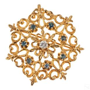14K Gold Antique Diamond Sapphire Pin Brooch 3.2g