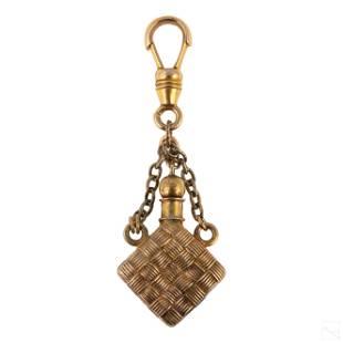 14K Gold Antique Perfume Bottle Brooch Pendant Pin