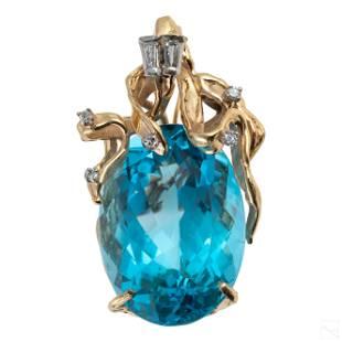 14K Gold Diamond and Blue Topaz Slide Pendant 23g