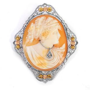 10K Gold Victorian Carved Shell Cameo Pendant Pin