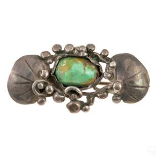 Mary Gage Turquoise Sterling Art and Crafts Brooch