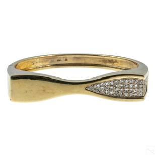 14K Gold 1.25 CTTW Diamonds Bangle Bracelet 43g